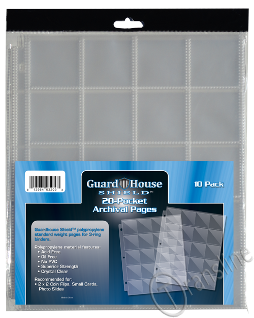 Guardhouse Shield 20 Pocket. (10 pack) Archival Polypropylene Pages