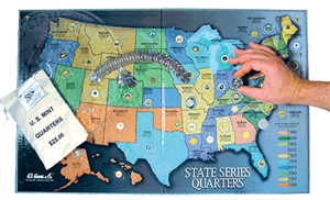 Statehood Quarter Map-Gray