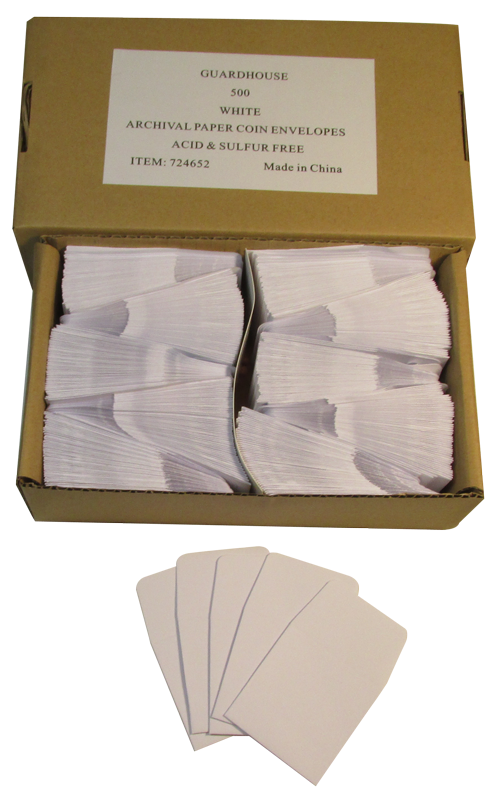 Archival Paper Coin Envelope, White - Qty: 500