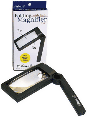 Illuminated Folding Magnifier 2x,6x