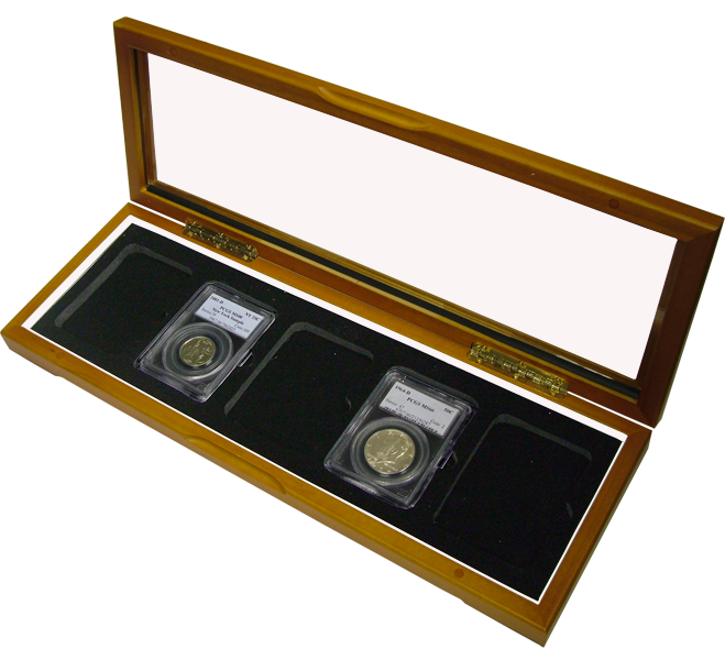 Wood Glass Top Display Coin Slab Box - 5 coin slabs universal