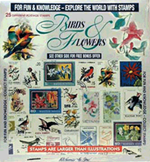 Birds & Flowers -- 25 Stamps
