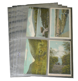 4 Pocket Post Card Archival Polyproplyene Pages, Clear