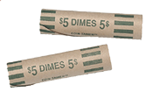 Nested-Preformed Dime Tube Coin Wrappers