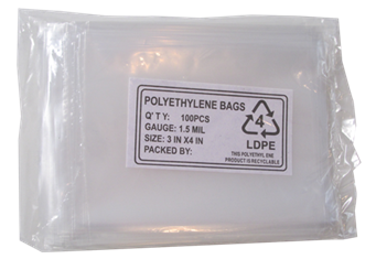 Poly Bags - 100 per pack (3 x 4)