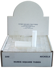 Numis Square Coin Tube -Nickel-100/bx
