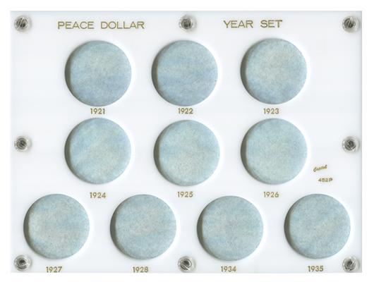Capital Plastic Coin Holder 452P Peace Dollar Year Set 1921-1935 White