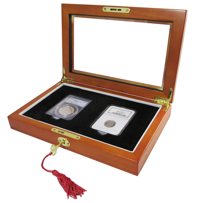 Wood Glass-top Display Slab Box with Latch and Key - 2 Slab Universal