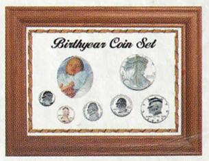 Solid Oak Birthyear Coin Frame Cent to ASE - White