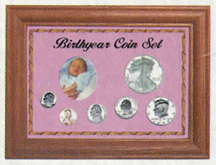 Solid Oak Birthyear Coin Frame Cent to ASE - Pink