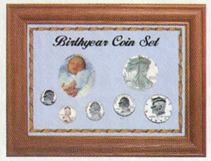 Solid Oak Birthyear Coin Frame Cent to ASE - Blue