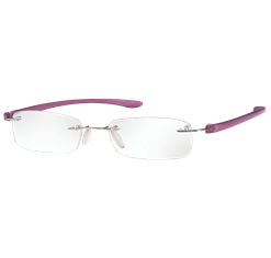 Rimless Magnifying Eye Glasses +2.5 (Purple Small)
