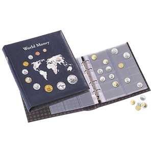 "Coin Album ""World Money"" w/5 different optima coin sheets- Blue"