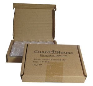 Small Dollar size 26.5mm Direct-Fit Guardhouse coin holders - (S dia) / 50 per box.