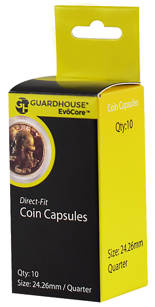 Quarter (24.3mm) Direct-Fit Coin Capsules - 10 Pack
