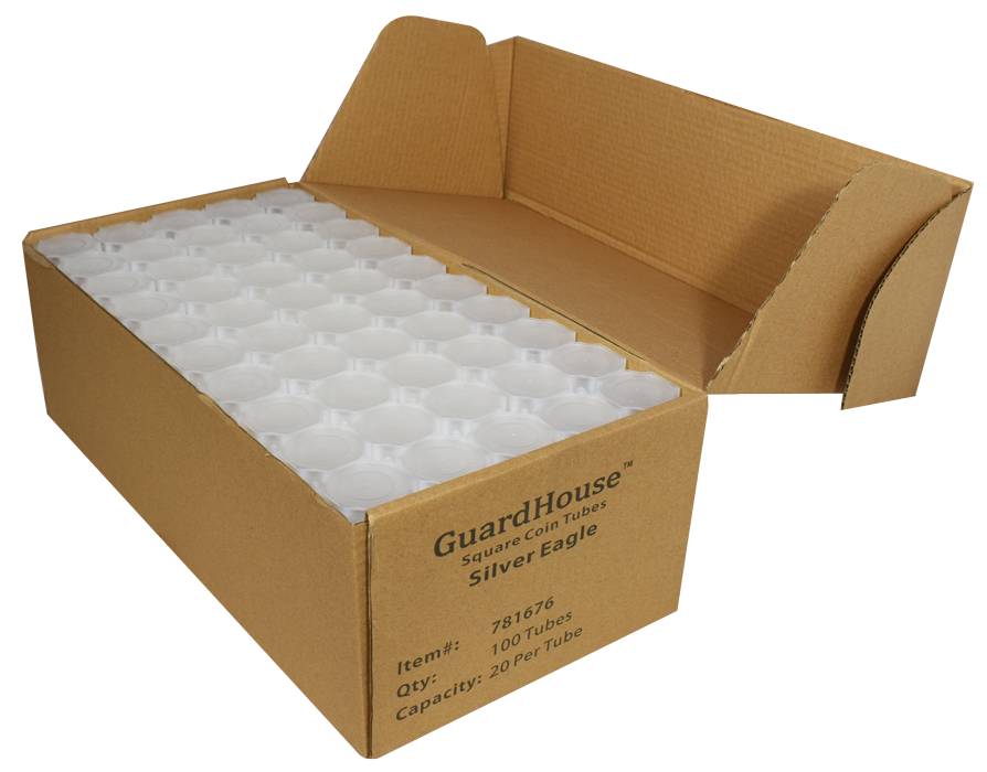 Guardhouse American Silver Eagle Coin Tube Clear Lid -100 Pack