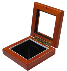 Guardhouse 3.87x3.87 Glass-top Wood Display Box - Holds Large Sized Capsule