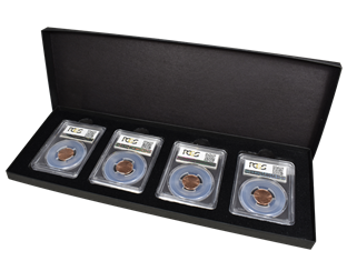 Four Slab Black Paperboard Certified Coin Gift Box