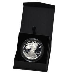 Folding Coin Capsule Box with Magnetic Lid and Stand Insert - Extra Large Capsule