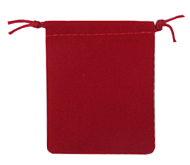Velour Drawstring Pouch - 2.75x3.25 Red