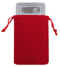 Velour Drawstring Pouch - 3x4.25 Red